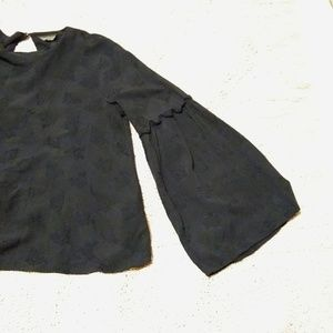 Topshop Black Bell Sleeve Blouse - 10
